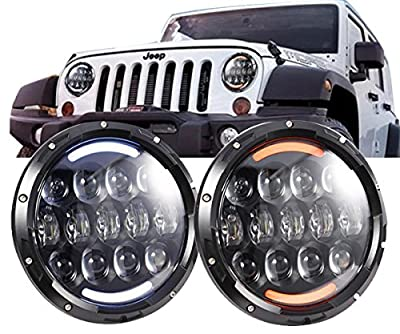 "COWONE105W OSRAM Brightest 7"" inch LED Headlights for Jeep Wrangler Jk LJ TJ CJ with White DRL /Amber Turn Signal Front Bumper Off Road Lights"