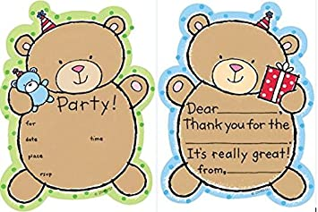 Amazon Kids Teddy Bear Party Fill In Party Invitations