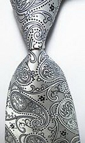 [MINDoNG Daily Paisley Silver Gray Black JACQUARD WOVEN Silk Men's Tie Necktie GAG # 32987] (James Bond Womens Costumes)