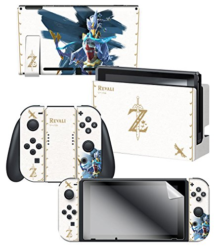"""Controller Gear Nintendo Switch Skin & Screen Protector Set Officially Licensed By Nintendo - The Legend of Zelda: Breath of the Wild: """"Revali White Pattern"""" - Nintendo Switch 1"""