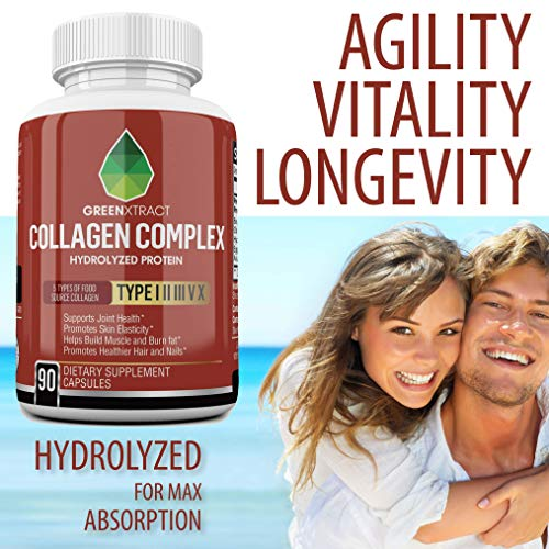 51%2BdxD 9Y1L - Multi Collagen Peptides Capsules (Types I,II,III,V,X) All Natural Hydrolyzed Protein Supplement, Anti Aging Formula, Strong Healthy Skin Hair Joints Bones & Nails, for Women & Men