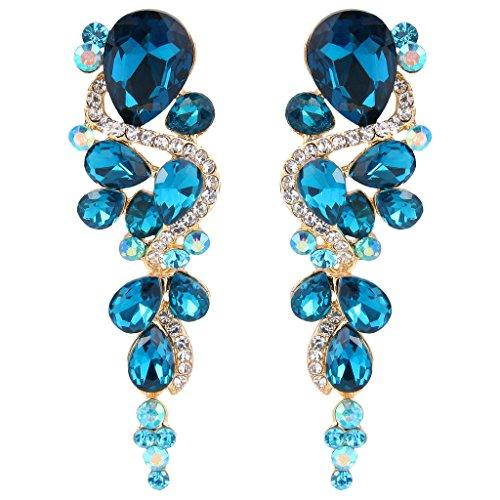 BriLove Women's Bohemian Boho Crystal Wedding Bridal Multiple Teardrop Chandelier Long Dangle Earrings Gold-Tone Blue Topaz Color
