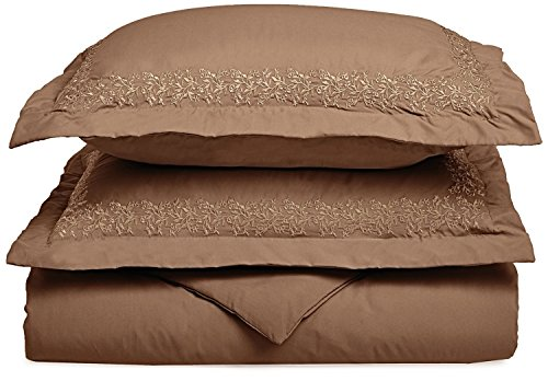 UPC 855031146810, Super Soft Light Weight, 100% Brushed Microfiber, Wrinkle Resistant, King/California King Duvet Cover, Taupe with Floral Lace Embroidery Pillowshams in Gift Box