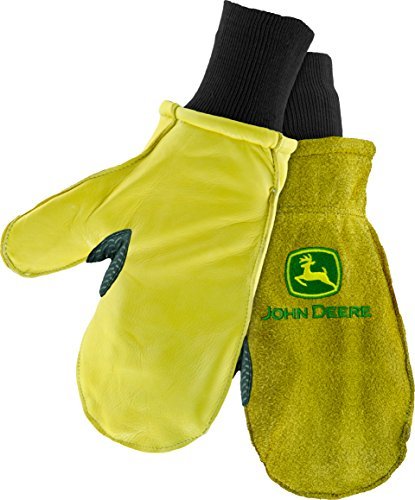 - West Chester John Deere JD97860 Waterproof Split Cowhide Leather Work Mittens with Thinsulate Lining: One Size Fits Most, 1 Pair