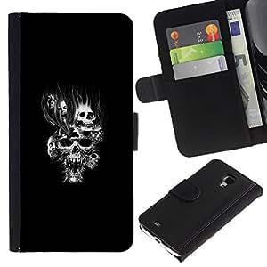 Stuss Case / Funda Carcasa PU de Cuero - Goth Cráneo malvado - Samsung Galaxy S4 Mini i9190