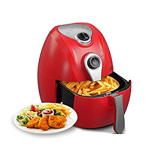 KUPPET YA300 Hot Air/Deep Fryer with Basket Oilless 4.76QT- Non Stick & Detachable Dishwasher Safe ,Timer Temperature Control ,8-in-1, 6 Cooking Presets,1300W, Red