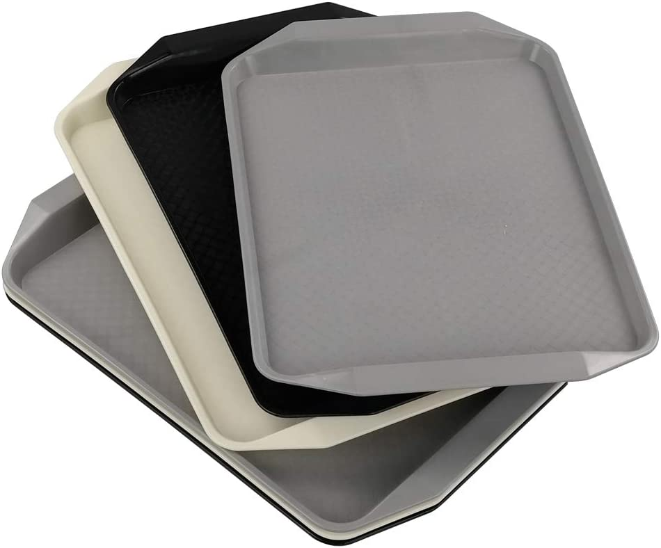 CadineUS 6-Pack Plastic Rectangular Serving Trays, Fast Food Serving Tray