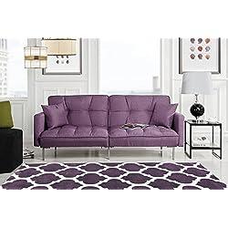 Divano Roma Furniture Collection - Modern Plush Tufted Linen Fabric Splitback Living Room Sleeper Futon (Light Purple)