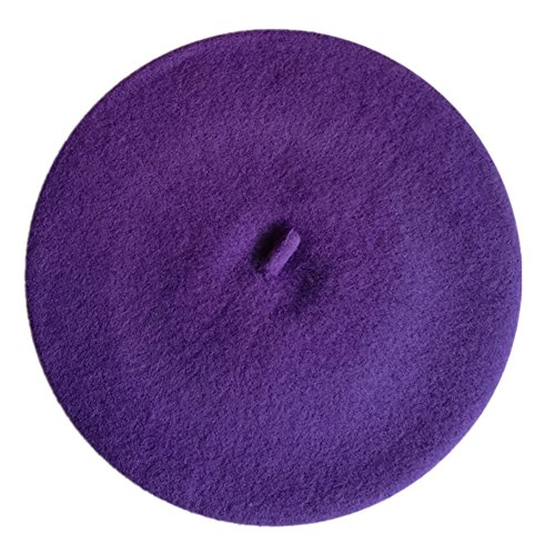 JOYHY Kids's Solid Color Classic French Style Beret Beanie Hat Dark Purple