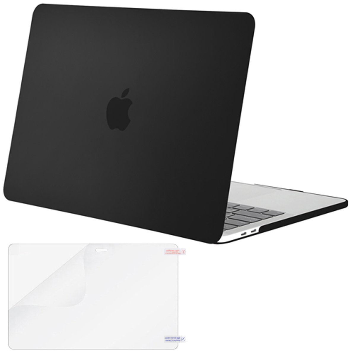MOSISO MacBook Pro 13 Case 2018 2017 2016 Release A1989/A1706/A1708, Plastic Hard Shell Cover with Screen Protector Compatible Newest MacBook Pro 13 Inch with/Without Touch Bar, Black