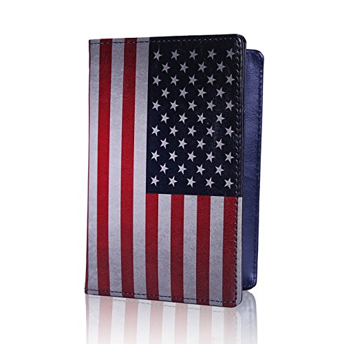 HDE RFID Passport Holder Wallet - RFID Blocking Cover Case for Travel Passports - Identity Theft Protection (American US Flag)