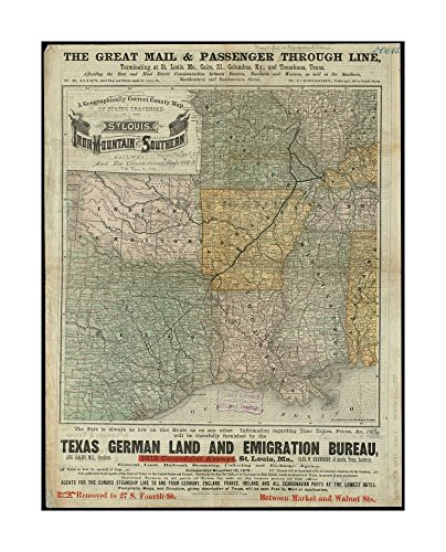 1880–1889 Map Southwest A geographically correct county of states traversed by St.Louis, Iron Mountain & Southern Railway, & its connections Great mail & paseenger through line, - County St Louis West