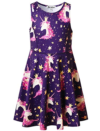 Unicorn Dresses for Girl Star Unicorn Outfit Summer Sun Sleeveless Beach Dress -
