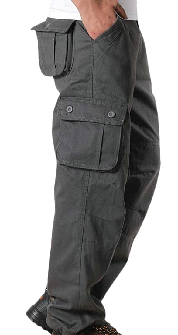 Men Pockets Casual Cargo Multi-Pocket Pant Sport Military Pants Harem Jogger Trousers