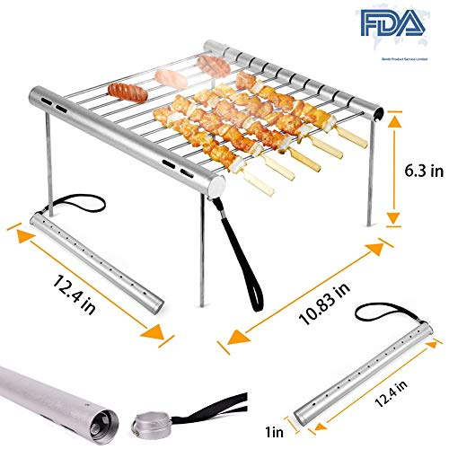 ROCKY DENTAL Portable Folding Grill, Outdoor Mini Grill net,Folding Compact Stainless Steel Charcoal Barbeque Grill for Outdoor Heating, Bonfire, Grill, Picnic, Campers, Backpacking, Survival