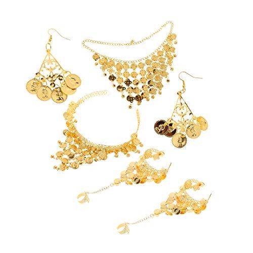 Generic Ladies Golden Belly Dance Costume Accessory Tassels Necklace Earrings Headpiece Hand Jewelry Set