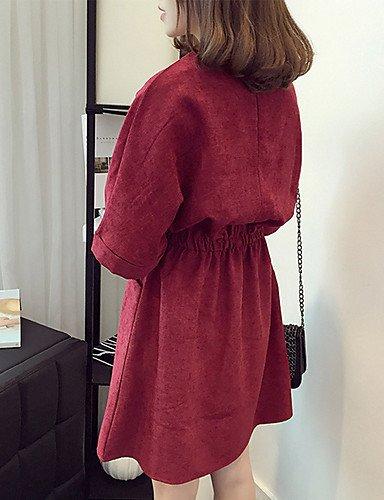 PU&PU Robe Aux femmes Gaine Street Chic,Couleur Pleine Col Arrondi Au dessus du genou Coton , khaki-2xl , khaki-2xl