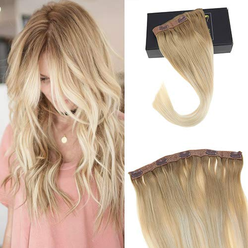 Sunny Balayage One Piece Clip in Human Hair Extension in Multi-Color Blonde