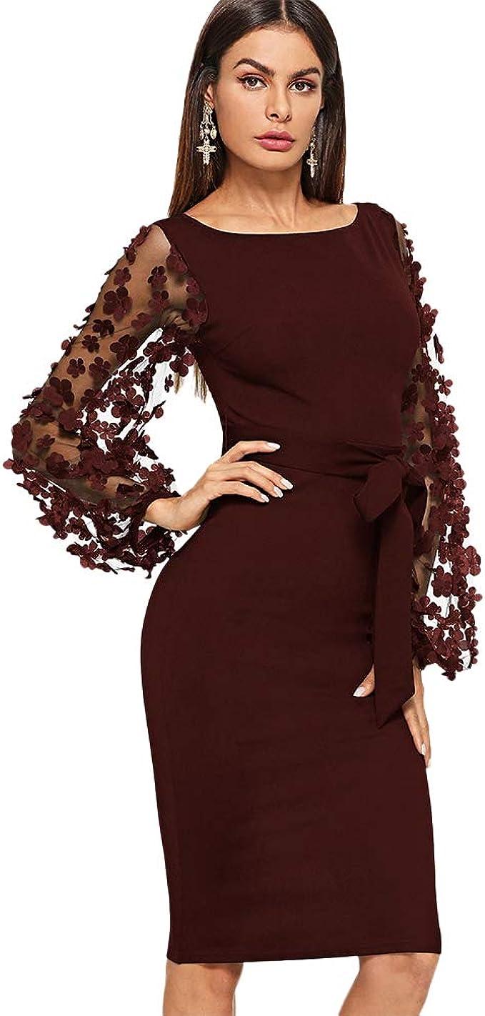 DIDK Damen Netz Figurbetontes Kleid Midi Kleider mit Gürtel