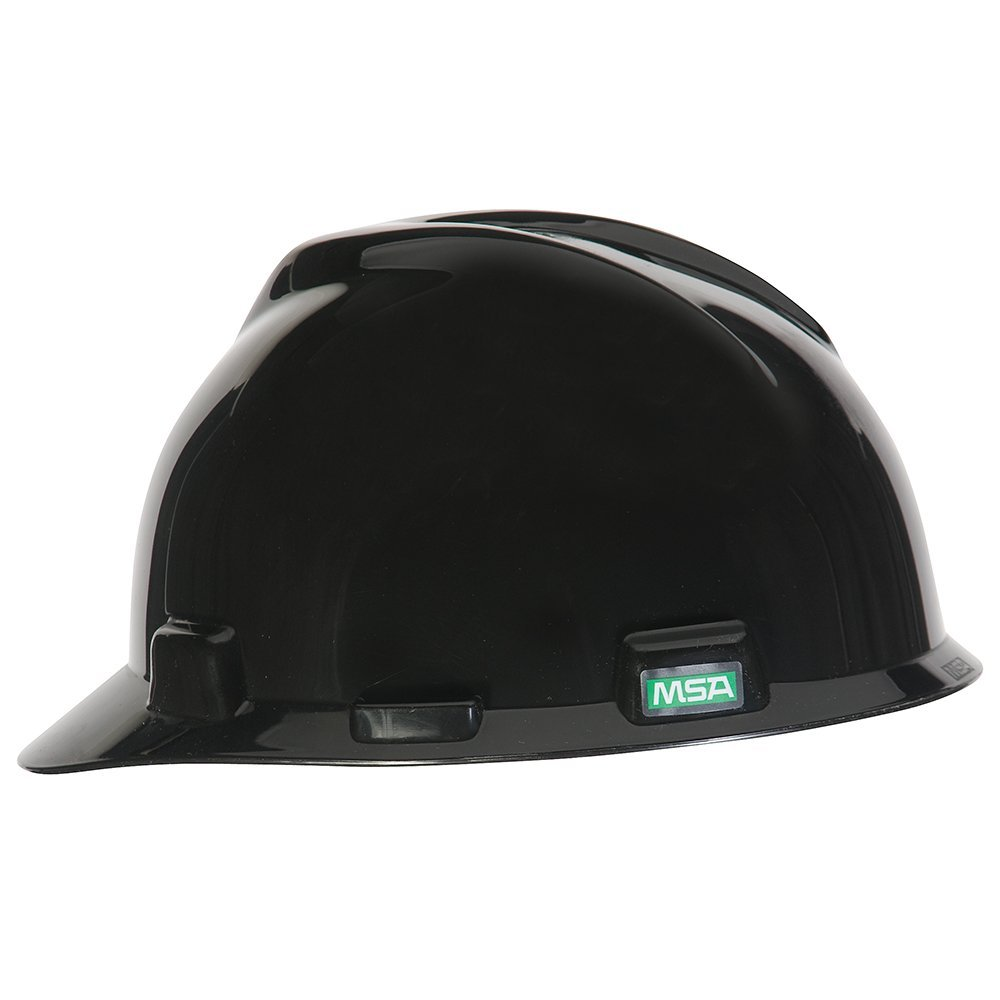MSA 492559 V-Gard Polyethylene Slotted Protective Cap with Fas-Trac Suspension, Standard Size, Black