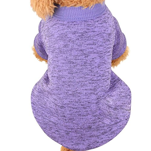 Sunward Pet Dog Clothes Soft Thickening Warm Stripe Polar Fleece Winter Clothes (S, Purple)
