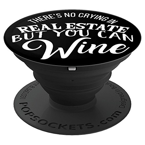 Funny Real Estate Agent Wine Lover Gift White Black PS13775 - PopSockets Grip and Stand for Phones and Tablets