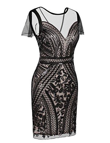 Dress Dress Embellished Flapper Sequin Women's Cocktail beige Black Gatsby 1920s PrettyGuide qAg86wF