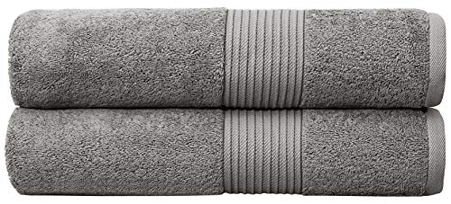 Bliss Luxury Combed Cotton Bath Towels - 34 x 56 Extra Large Premium Quality Bath Sheet - 650 GSM - Soft, Absorbent (Grey, 2 Pack)