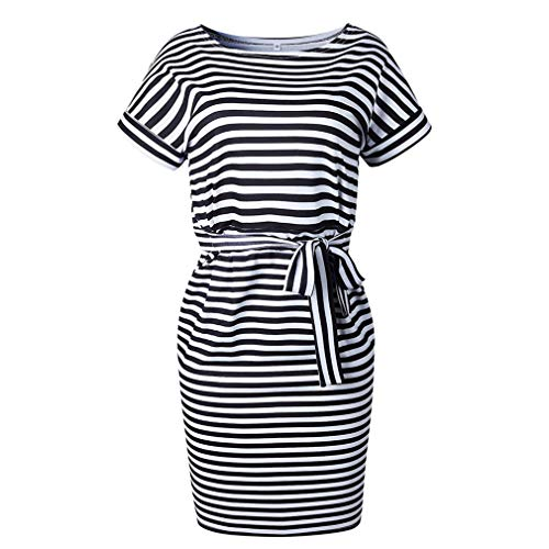 Poperdision Women's Elegant Pencil Dress Short Sleeve Wear to Work Casual Office Dress Belt Black Stripe S by Poperdision (Image #3)