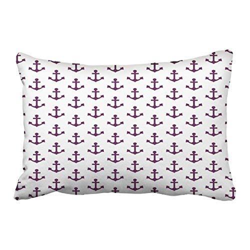 Custom Vintage Anchors Nautical Lavender Purple White Sailor Pillowcases 20x30 Inch with Hidden Zipper Home Sofa Cushion Decorative Pillowcase ()