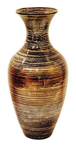 heather ann creations traditional water jug shaped bamboo spun decorative accent vase 25 tall dark browngold - Decorative Urns