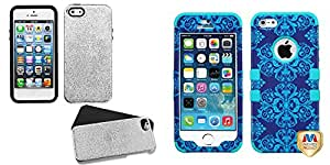 Combo pack MYBAT Silver Plating Matte Wrinkle/Black Fusion Protector Cover for APPLE iPhone 5 And MYBAT Purple/Blue Damask/Tropical Teal TUFF Hybrid Phone Protector Cover for APPLE iPhone 5S/5
