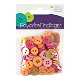 C.R. Gibson Blumenthal Lansing Round Buttons, Value Pack of 130, Various Styles and Sizes - Various Shades of Pinks, Yellow and Orange