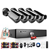 Rraycom 8-Channel 1080P Security System 1080H Video DVR with 1TB Surveillance Hard Disk Drive and (4) 2000TVL Weatherproof Cameras with IR-cut Night Vision LEDs