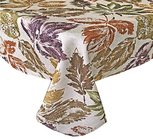 Newbridge Amber Autumn Leaves Modern Fall and Thanksgiving Fabric Tablecloth, Mod Harvest Leaf Print Soil Resistant, No Iron Easy Care Tablecloth, 52 Inch x 70 Inch Oblong/Rectangle
