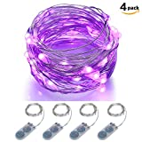 Micro LED String Lights Battery Powered ITART Set of 4 Purple Mini String Light 20 LEDs / 6ft (2m) Ultra Thin Silver Wire Rope Lights for Halloween Trees Wedding Parties Bedroom