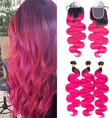 Amazon Com Ombre Pink Bundles With Closure Black To Pink
