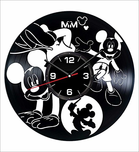 Mouse Holiday Mickey Personalized (Mickey Mouse Wall Clock Made of Vintage Vinyl Records - Stylish clock and Amazing Gifts Idea – Unique Home Decor – Personalized Presents for Men Women Kids – Great for Living Room Bedroom Kitchen)