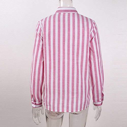 Donna Rosa Tops Vintage Bavero Camicie Camicie Lunga Breasted Stripe Allentato Eleganti Bluse Donna Single Sciolto Manica Blusa Moda Donne Primaverile Autunno Casuale Battercake Camicetta CBFgw