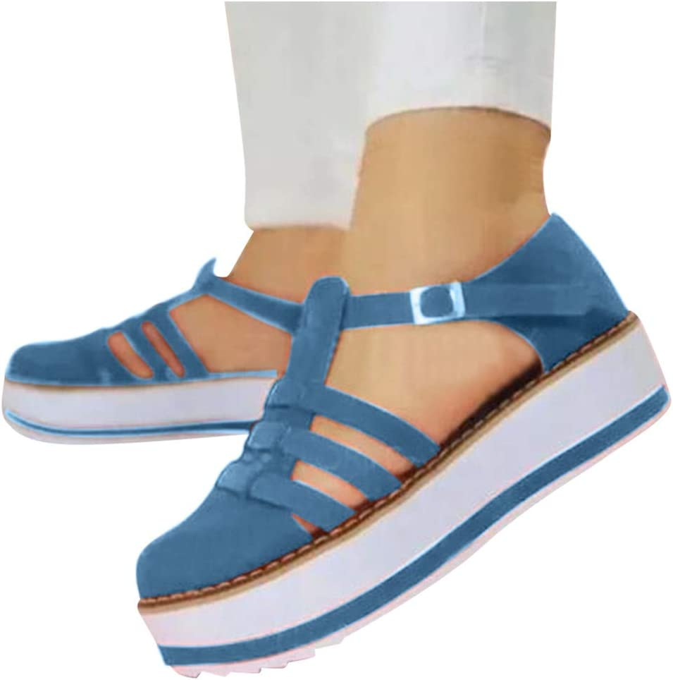 Brown,8 Toimothcn Womens Hollow-Out Platform Sandals Flat Heel Round Shoes Buckle Strap Dress Sandals