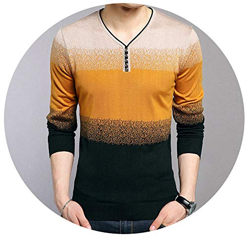 (MDFY OEWGRF Men's Cotton Wool Sweaters Striped Print Pullover V-Neck Pull Homme Plus Size)