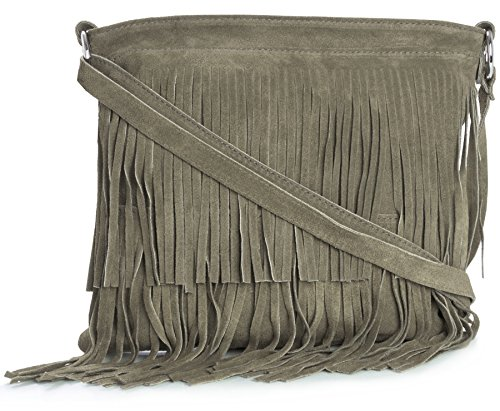 Fringe Shoulder Womens Bag ASHLEY Size Large Tassle Suede Taupe Leather Light LIATALIA wBIXqI