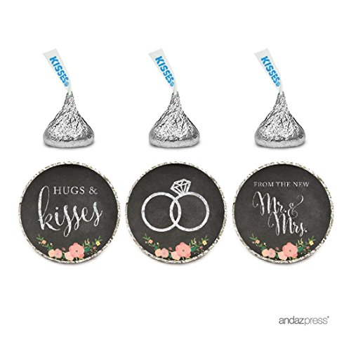 Andaz Press Chocolate Drop Labels Stickers, Wedding Hugs & Kisses from The New Mr. & Mrs, Chalkboard Floral Roses, 216-Pack, for Bridal Shower Engagement Hersheys Kisses Party Favors Decor