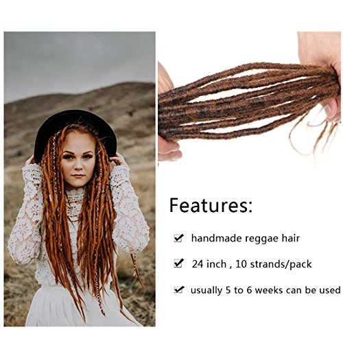 Reggae Hair Handmade Dreadlock Extentions synthetic hair From Nepal For Hippie Tribal 24 inch 10 strands/pack