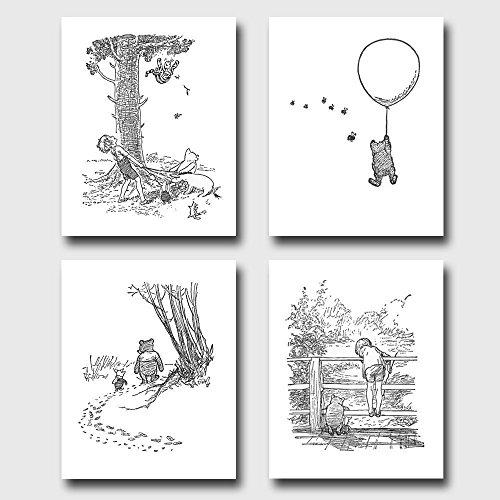 set-of-4-winnie-the-pooh-black-and-white-nurseryart-classic-prints-baby-wall-decor-winnies-adventure