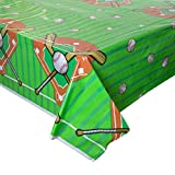 "Baseball Plastic Tablecloth, 84"" x 54"""