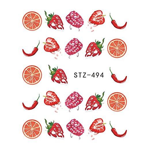 1PCS Summer Harajuku Element Fruit Retro Cake Lace Water Transfer Nail Art Sticker Decal Slider Manicure Tool Tips ()