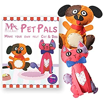 Cute Cat & Dog Sewing Pattern Kit for kids - Starter pack with all parts and accessories included - Felt Fabrics Supplies - Sewing Projects Set - Educational Fun