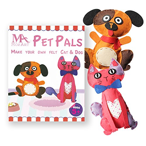 Cute Cat & Dog Sewing Pattern Kit for kids - Starter pack with all parts and accessories included - Felt Fabrics Supplies - Sewing Projects Set - Educational (Cat Kit Child)