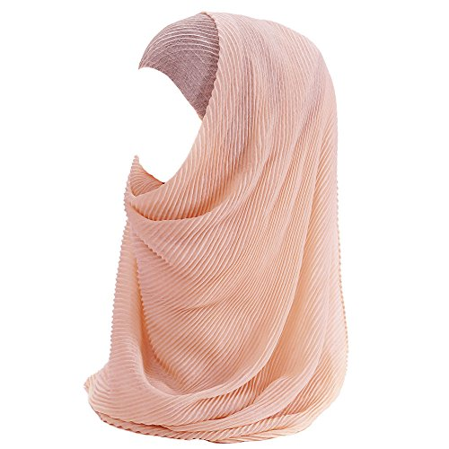 Lina & Lily Muslim Women Hijab Head Scarf Pleated Crinkled (Peach)